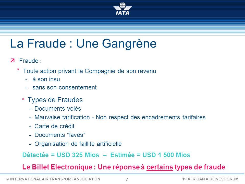 7 La Fraude : Une Gangrène Fraude : * Toute action privant la Compagnie de son revenu - à son insu - sans son consentement * Types de Fraudes - Docume