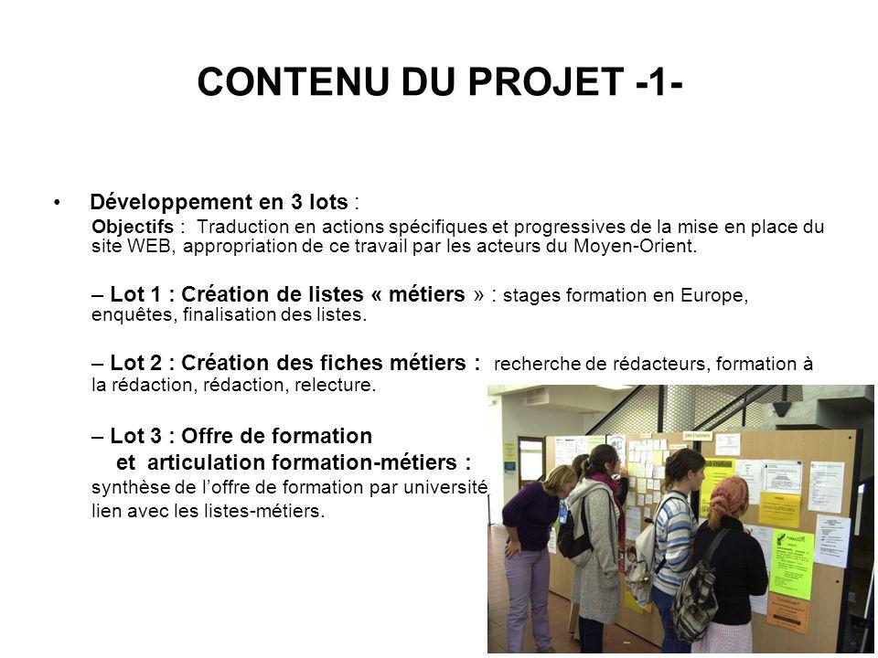 CONTENU DU PROJET -1- Développement en 3 lots : Objectifs : Traduction en actions spécifiques et progressives de la mise en place du site WEB, appropriation de ce travail par les acteurs du Moyen-Orient.