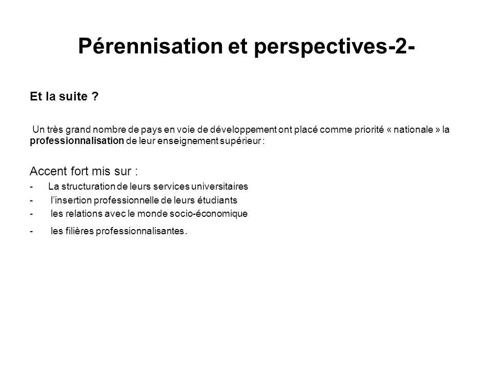 Pérennisation et perspectives-2- Et la suite .