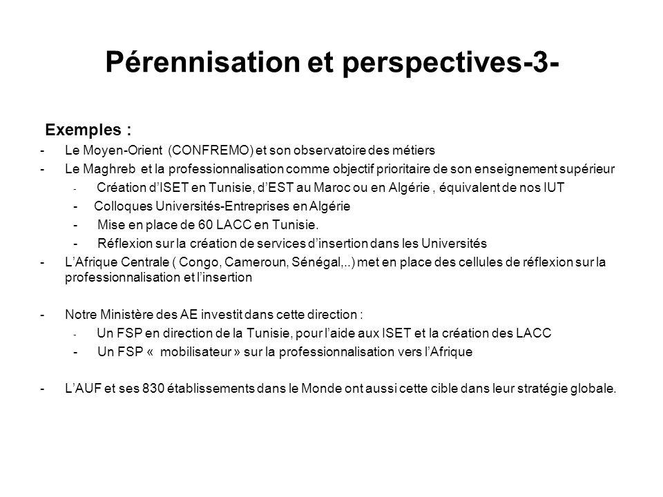 Pérennisation et perspectives-3- Exemples : -Le Moyen-Orient (CONFREMO) et son observatoire des métiers -Le Maghreb et la professionnalisation comme objectif prioritaire de son enseignement supérieur - Création dISET en Tunisie, dEST au Maroc ou en Algérie, équivalent de nos IUT -Colloques Universités-Entreprises en Algérie - Mise en place de 60 LACC en Tunisie.