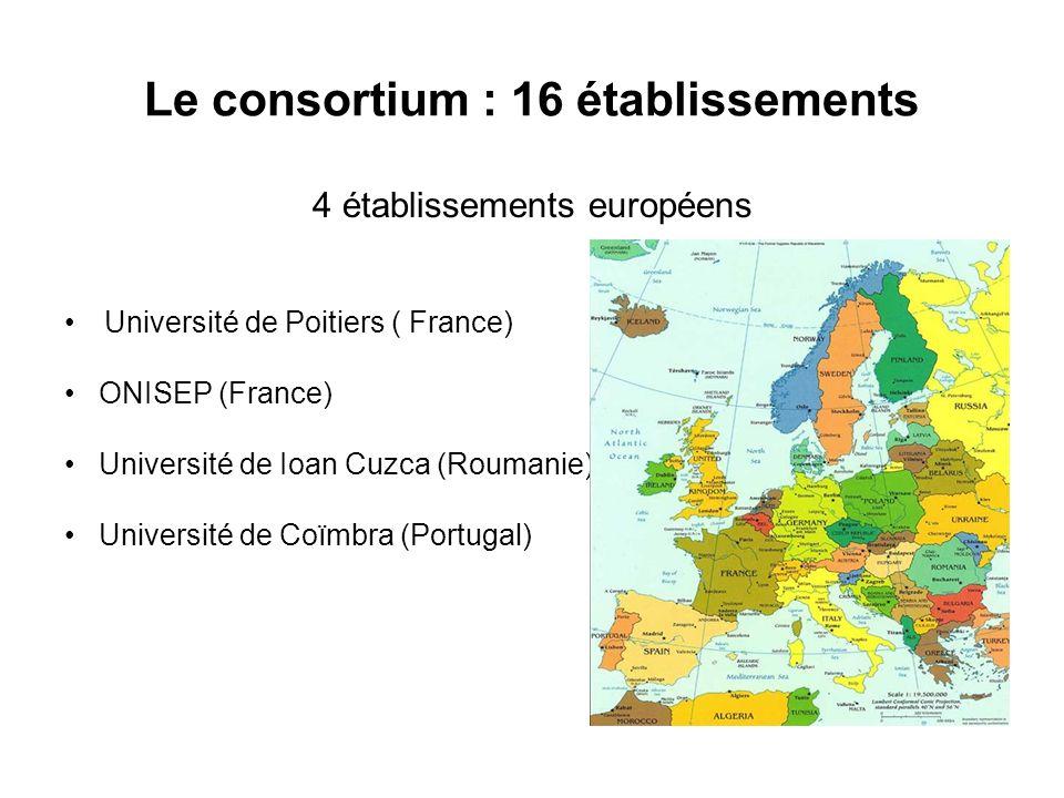 Le consortium : 16 établissements 4 établissements européens Université de Poitiers ( France) ONISEP (France) Université de Ioan Cuzca (Roumanie) Université de Coïmbra (Portugal)