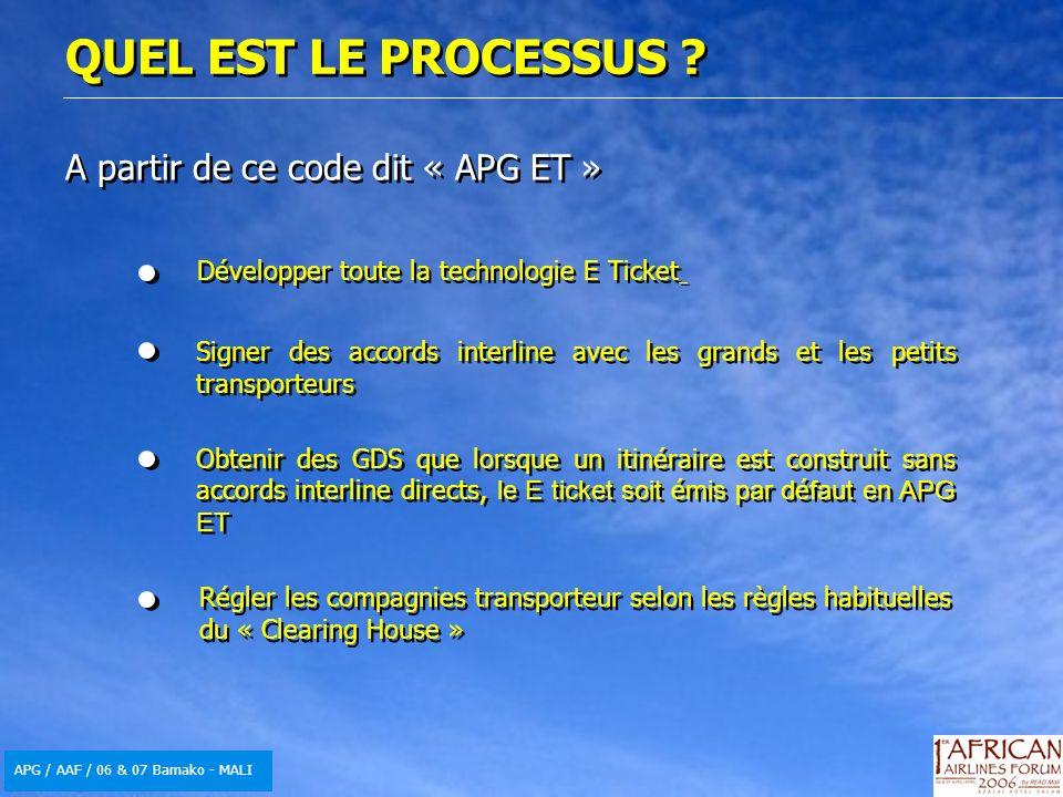 APG / AAF / 06 & 07 Bamako - MALI QUEL EST LE PROCESSUS ? A partir de ce code dit « APG ET » A partir de ce code dit « APG ET » Développer toute la te