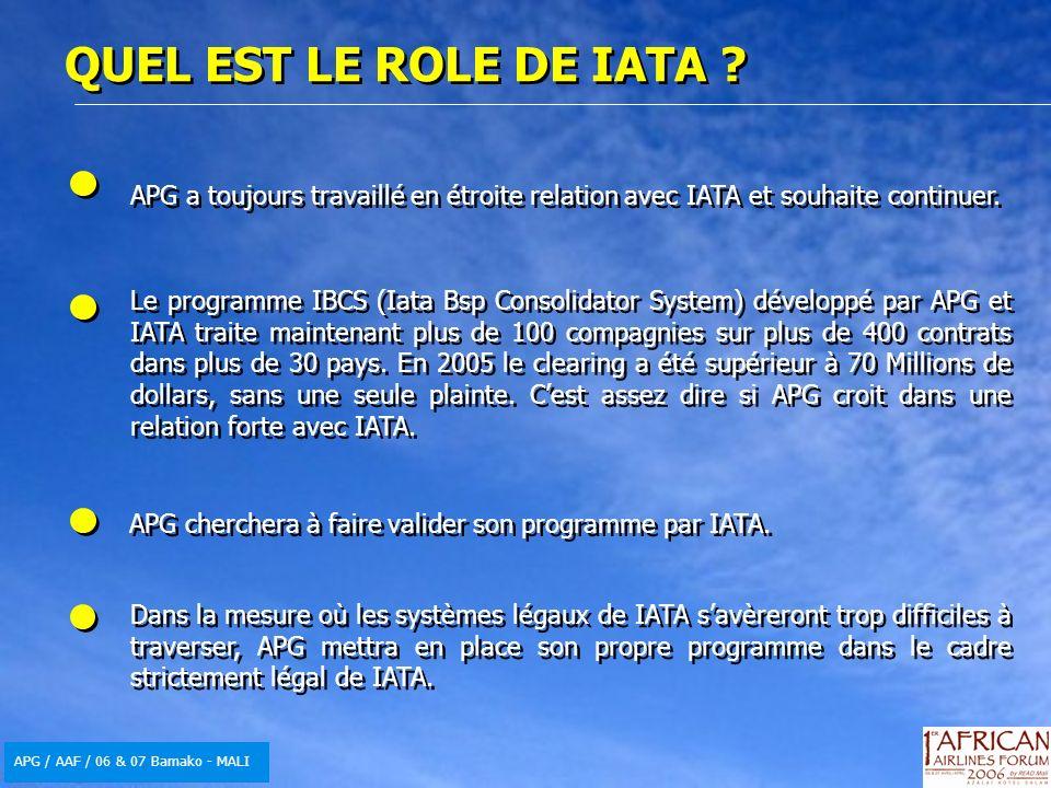 APG / AAF / 06 & 07 Bamako - MALI QUEL EST LE ROLE DE IATA ? APG a toujours travaillé en étroite relation avec IATA et souhaite continuer. Le programm