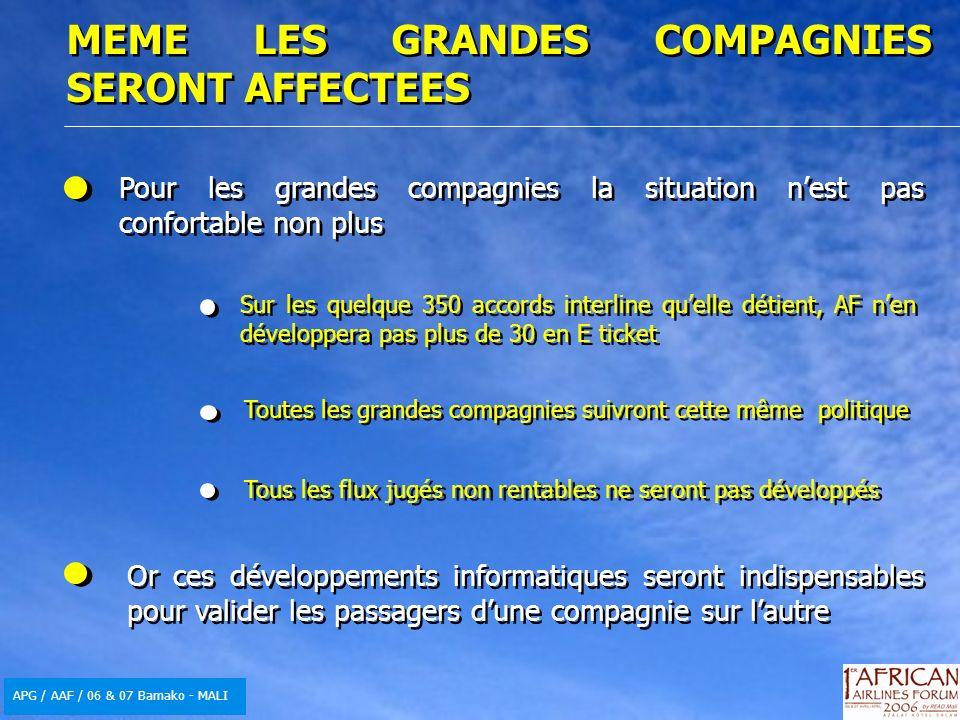APG / AAF / 06 & 07 Bamako - MALI MEME LES GRANDES COMPAGNIES SERONT AFFECTEES Pour les grandes compagnies la situation nest pas confortable non plus