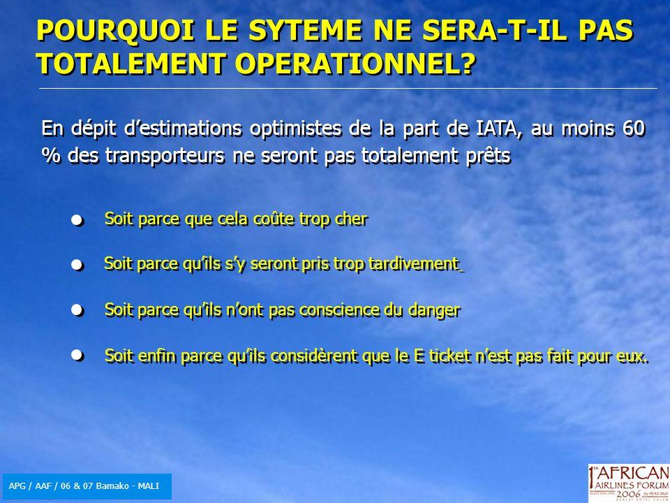 APG / AAF / 06 & 07 Bamako - MALI En dépit destimations optimistes de la part de IATA, au moins 60 % des transporteurs ne seront pas totalement prêts Soit parce que cela coûte trop cher Soit parce quils sy seront pris trop tardivement Soit enfin parce quils considèrent que le E ticket nest pas fait pour eux.
