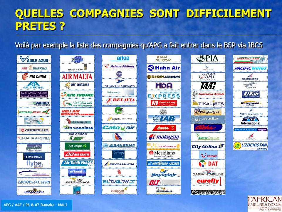 APG / AAF / 06 & 07 Bamako - MALI Voilà par exemple la liste des compagnies quAPG a fait entrer dans le BSP via IBCS Voilà par exemple la liste des compagnies quAPG a fait entrer dans le BSP via IBCS QUELLES COMPAGNIES SONT DIFFICILEMENT PRETES