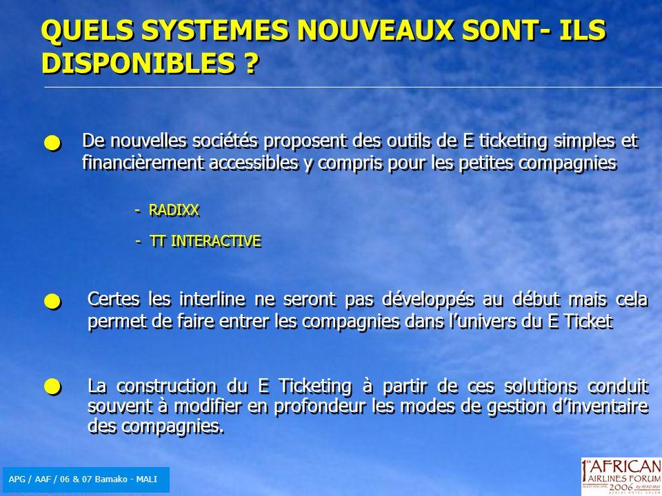 APG / AAF / 06 & 07 Bamako - MALI - RADIXX - TT INTERACTIVE De nouvelles sociétés proposent des outils de E ticketing simples et financièrement access