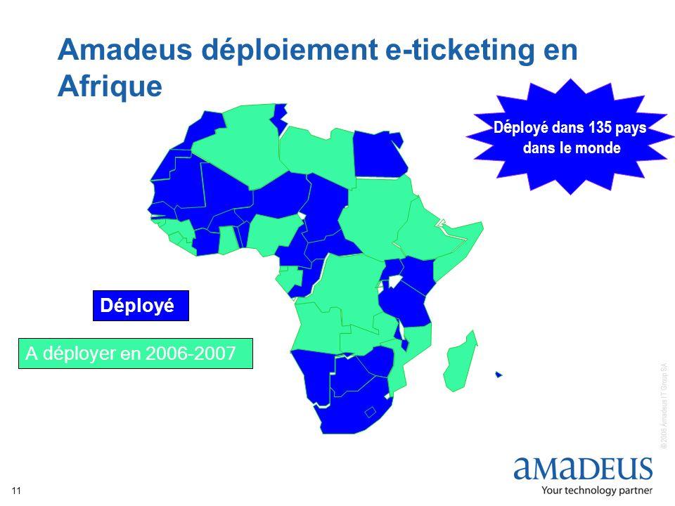 © 2006 Amadeus IT Group SA 11 Amadeus déploiement e-ticketing en Afrique A déployer en 2006-2007 Déployé D é ployé dans 135 pays dans le monde