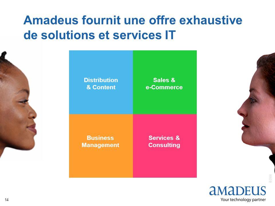 © 2006 Amadeus IT Group SA 14 Distribution & Content Sales & e-Commerce Business Management Services & Consulting Amadeus fournit une offre exhaustive de solutions et services IT