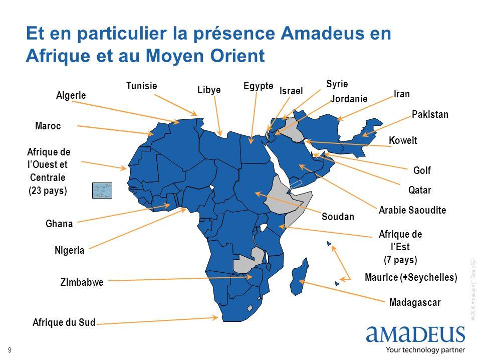 © 2006 Amadeus IT Group SA 9 Et en particulier la présence Amadeus en Afrique et au Moyen Orient Afrique de lOuest et Centrale (23 pays) Afrique du Su