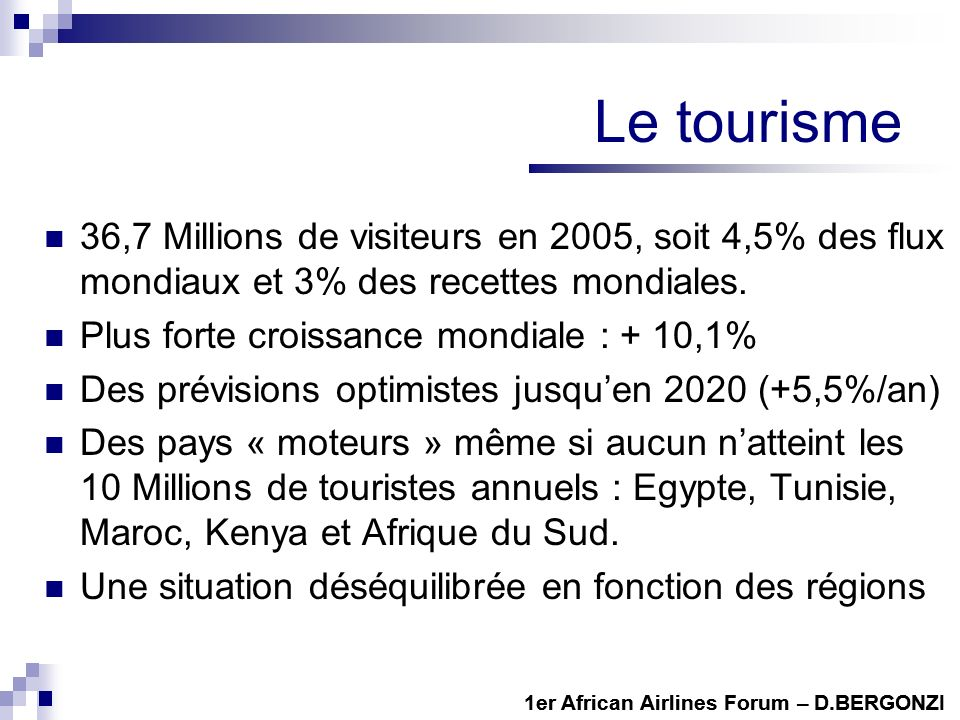 Le tourisme 36,7 Millions de visiteurs en 2005, soit 4,5% des flux mondiaux et 3% des recettes mondiales. Plus forte croissance mondiale : + 10,1% Des