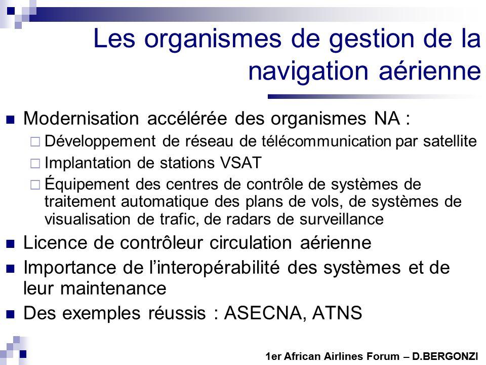 Les organismes de gestion de la navigation aérienne Modernisation accélérée des organismes NA : Développement de réseau de télécommunication par satel