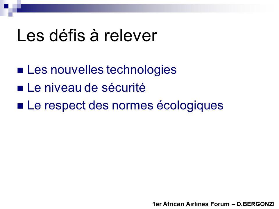 Les défis à relever Les nouvelles technologies Le niveau de sécurité Le respect des normes écologiques 1er African Airlines Forum – D.BERGONZI