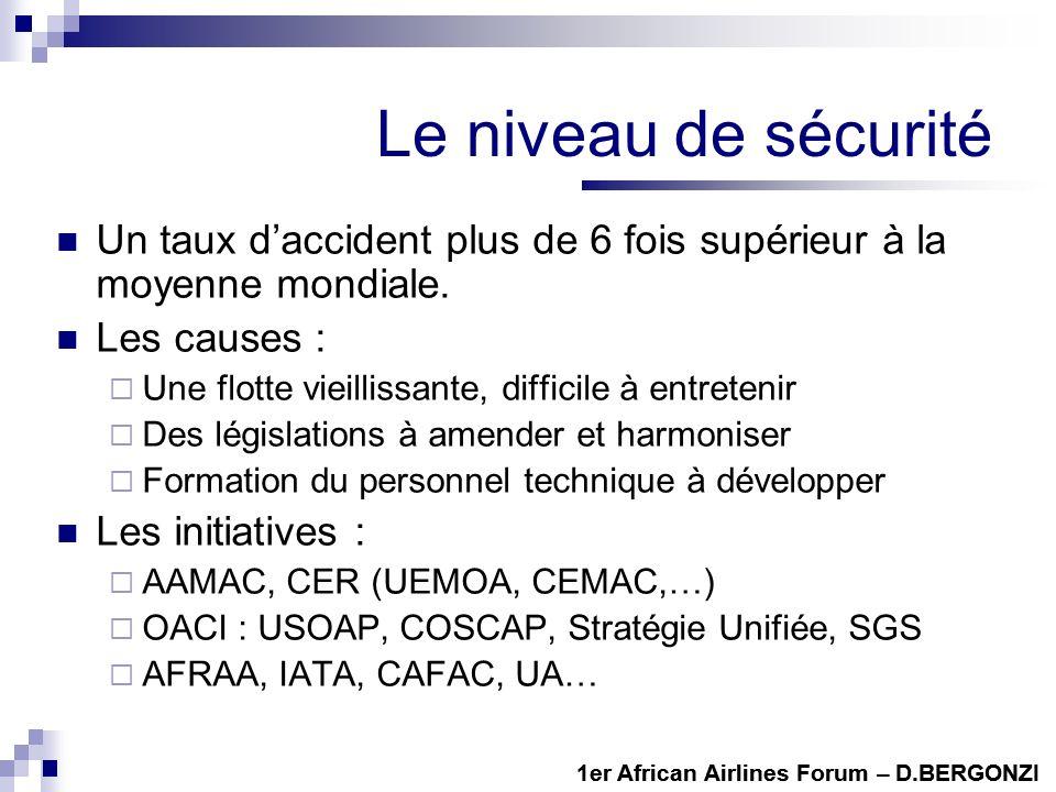 1er African Airlines Forum – D.BERGONZI Le niveau de sécurité Un taux daccident plus de 6 fois supérieur à la moyenne mondiale. Les causes : Une flott