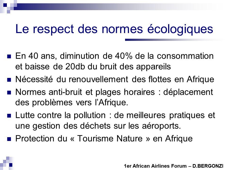 Le respect des normes écologiques En 40 ans, diminution de 40% de la consommation et baisse de 20db du bruit des appareils Nécessité du renouvellement des flottes en Afrique Normes anti-bruit et plages horaires : déplacement des problèmes vers lAfrique.