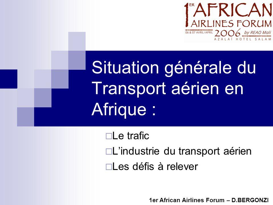 Situation générale du Transport aérien en Afrique : Le trafic Lindustrie du transport aérien Les défis à relever 1er African Airlines Forum – D.BERGONZI
