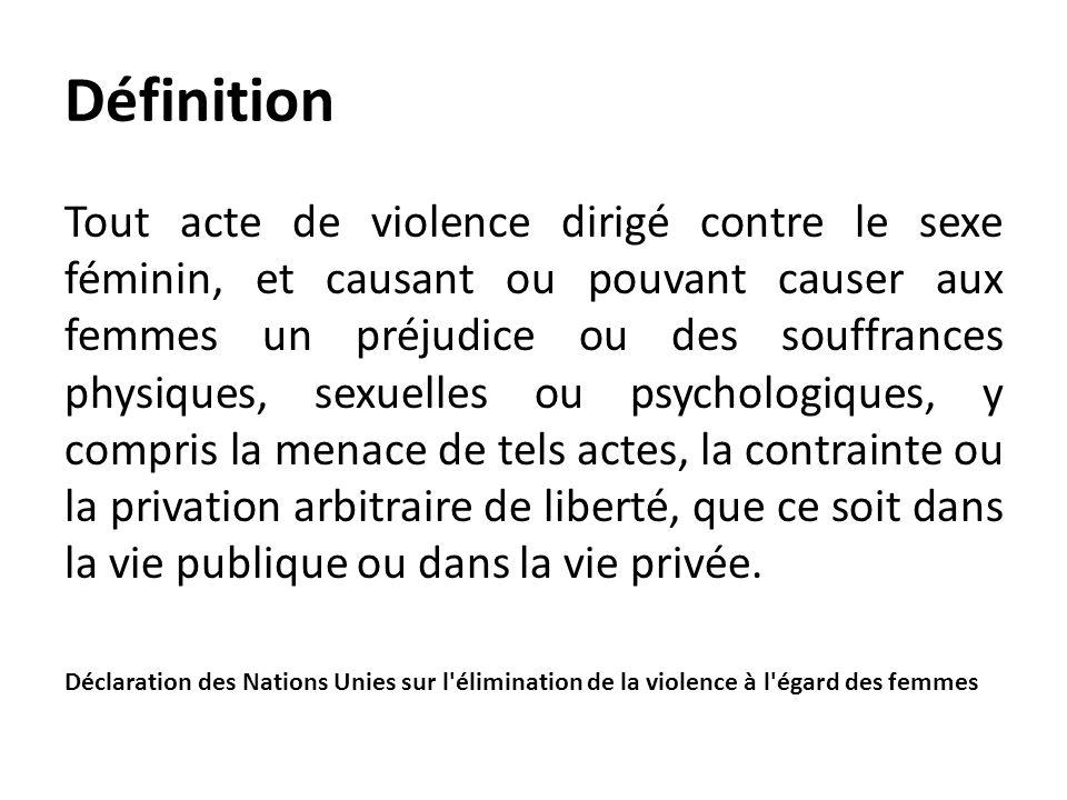 Définition Tout acte de violence dirigé contre le sexe féminin, et causant ou pouvant causer aux femmes un préjudice ou des souffrances physiques, sex