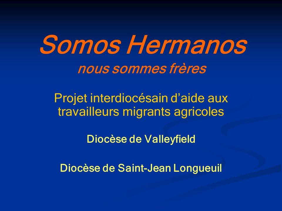 Somos Hermanos nous sommes frères Projet interdiocésain daide aux travailleurs migrants agricoles Diocèse de Valleyfield Diocèse de Saint-Jean Longueu