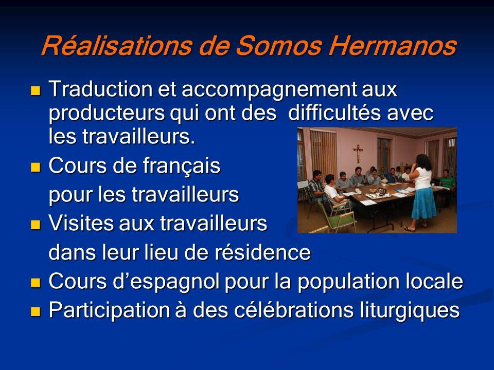Réalisations de Somos Hermanos Traduction et accompagnement aux producteurs qui ont des difficultés avec les travailleurs. Traduction et accompagnemen