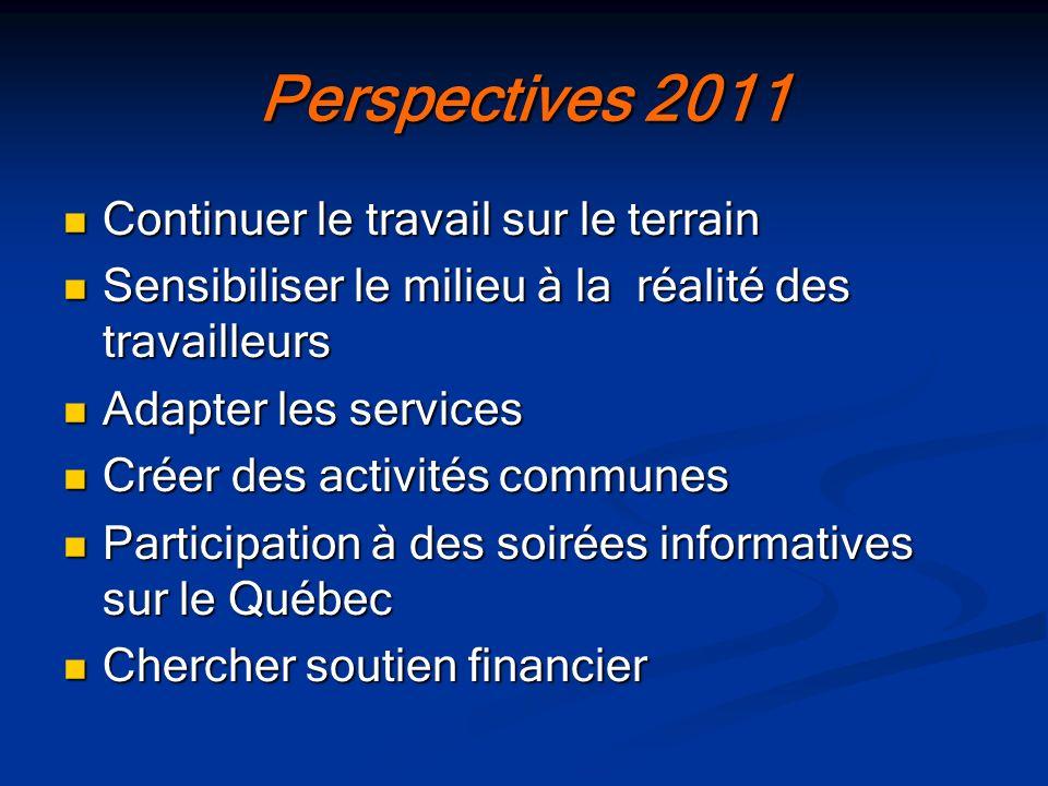 Perspectives 2011 Continuer le travail sur le terrain Continuer le travail sur le terrain Sensibiliser le milieu à la réalité des travailleurs Sensibi