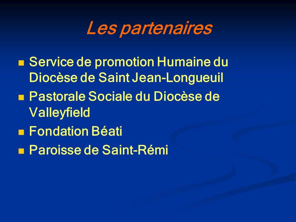 Les partenaires Service de promotion Humaine du Diocèse de Saint Jean-Longueuil Pastorale Sociale du Diocèse de Valleyfield Fondation Béati Paroisse d
