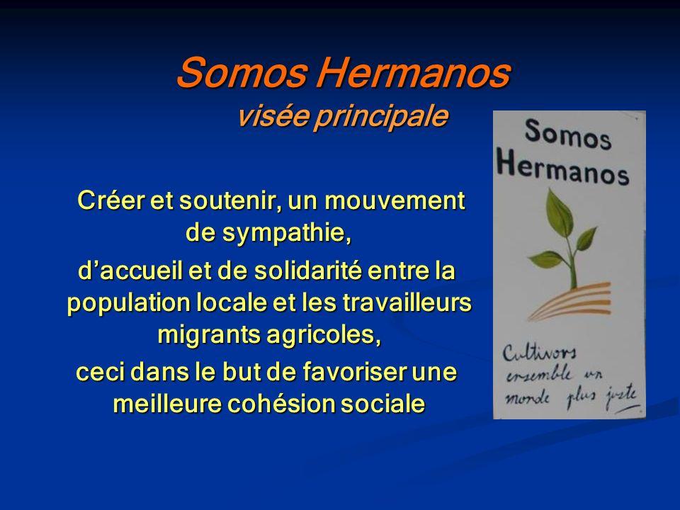 Somos Hermanos visée principale Créer et soutenir, un mouvement de sympathie, Créer et soutenir, un mouvement de sympathie, daccueil et de solidarité