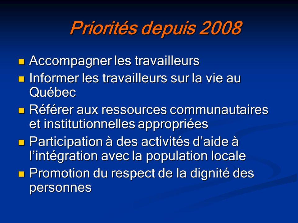Priorités depuis 2008 Priorités depuis 2008 Accompagner les travailleurs Accompagner les travailleurs Informer les travailleurs sur la vie au Québec I
