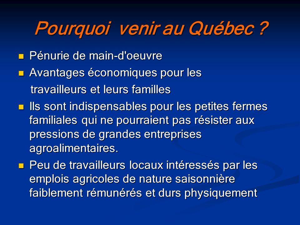 Pourquoi venir au Québec ? Pénurie de main-d'oeuvre Pénurie de main-d'oeuvre Avantages économiques pour les Avantages économiques pour les travailleur