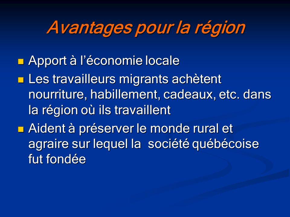 Avantages pour la région Apport à léconomie locale Apport à léconomie locale Les travailleurs migrants achètent nourriture, habillement, cadeaux, etc.