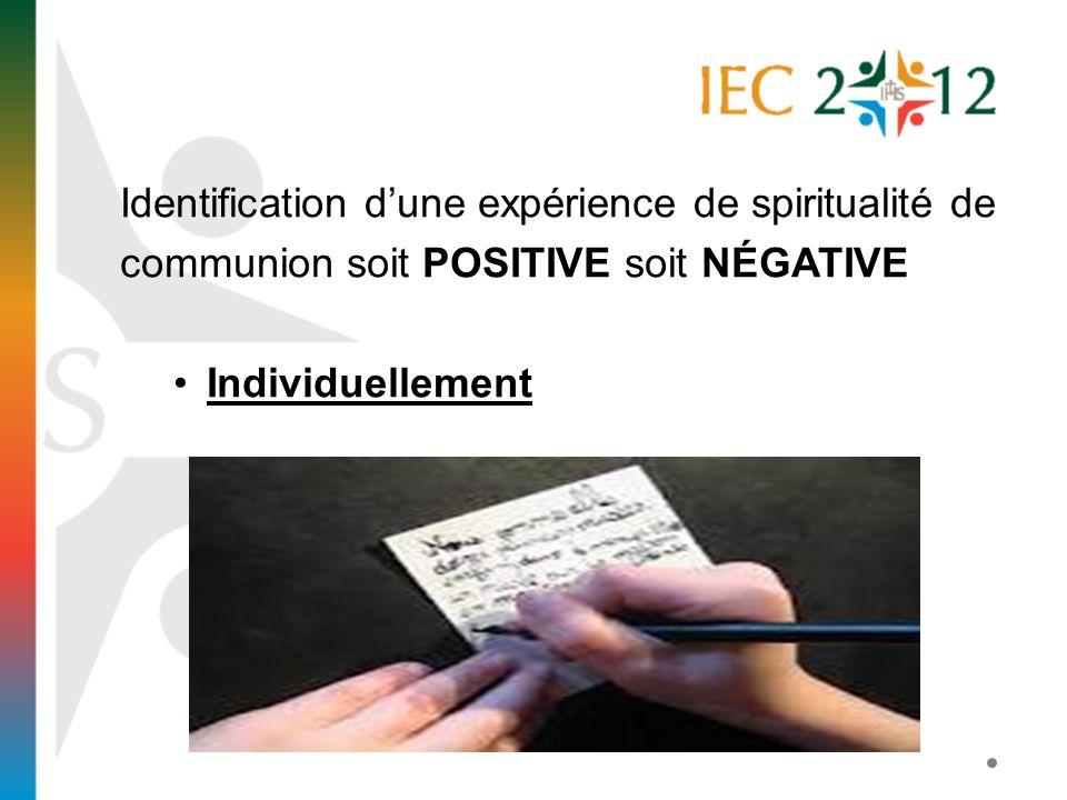 Identification dune expérience de spiritualité de communion soit POSITIVE soit NÉGATIVE Individuellement