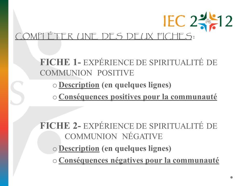 COMPLÉTER UNE DES DEUX FICHES : FICHE 1- EXPÉRIENCE DE SPIRITUALITÉ DE COMMUNION POSITIVE o Description (en quelques lignes) o Conséquences positives
