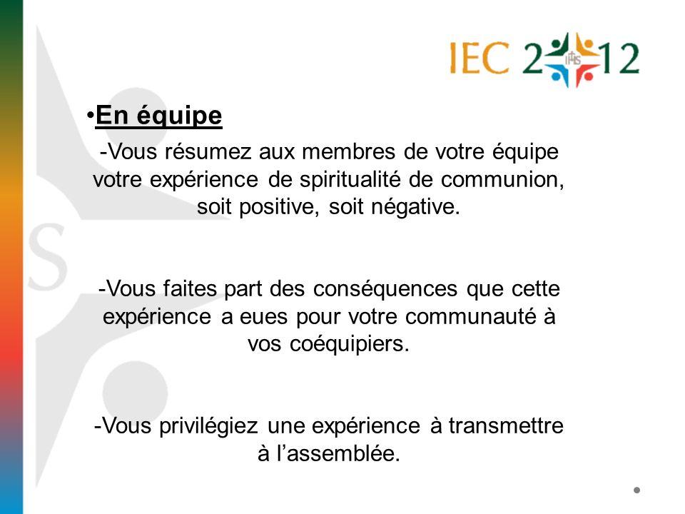 En équipe -Vous résumez aux membres de votre équipe votre expérience de spiritualité de communion, soit positive, soit négative. -Vous faites part des