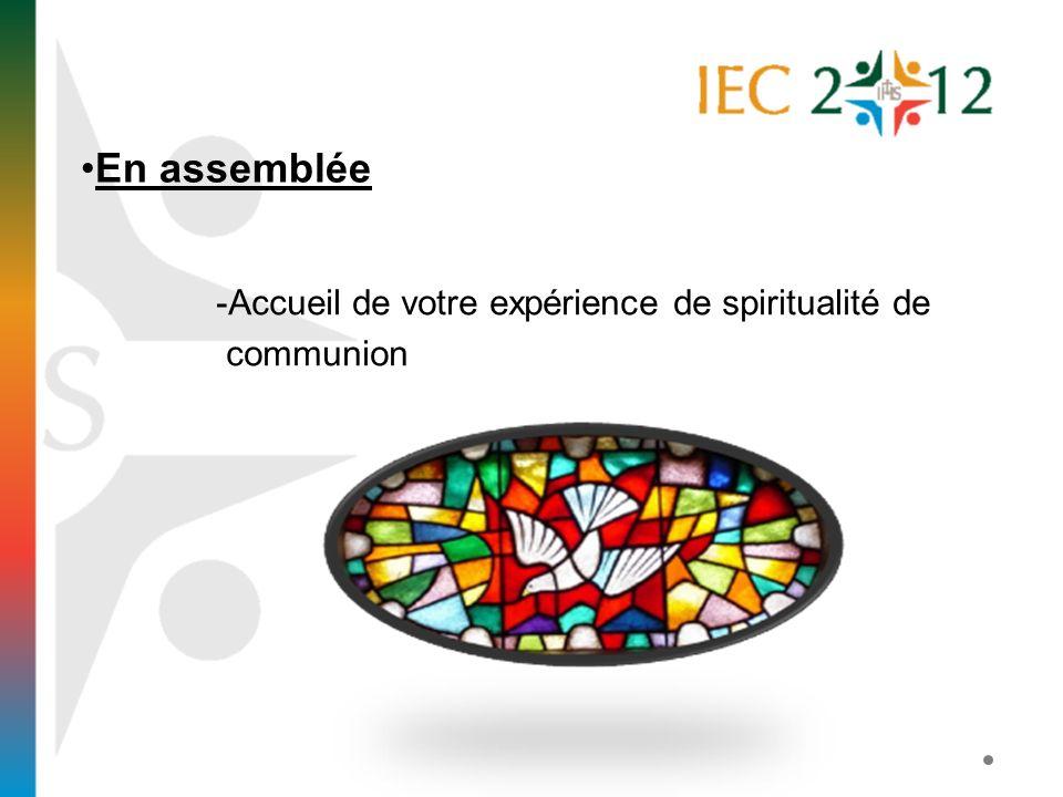 -Accueil de votre expérience de spiritualité de communion En assemblée