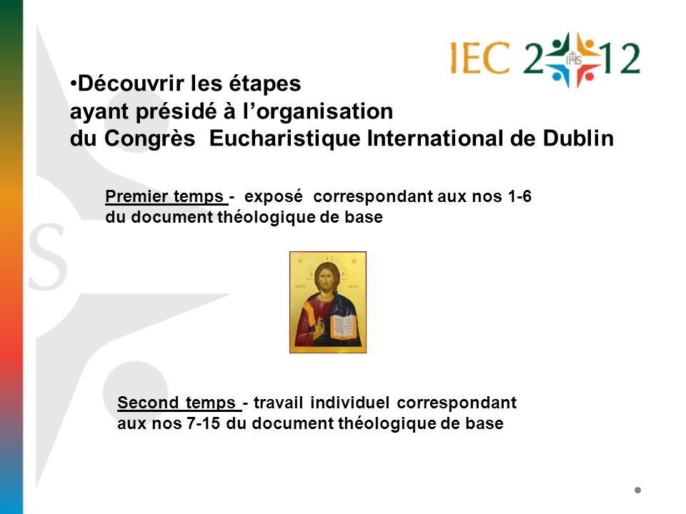 Découvrir les étapes ayant présidé à lorganisation du Congrès Eucharistique International de Dublin Premier temps - exposé correspondant aux nos 1-6 d