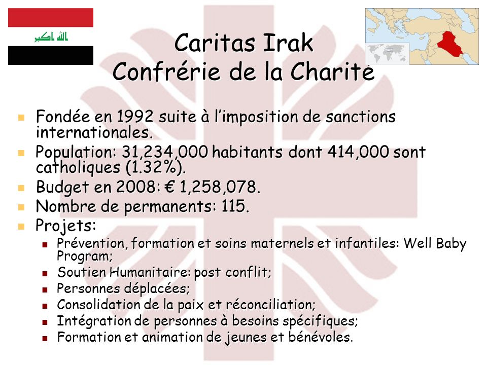 Caritas Irak Confrérie de la Charité Fondée en 1992 suite à limposition de sanctions internationales. Fondée en 1992 suite à limposition de sanctions