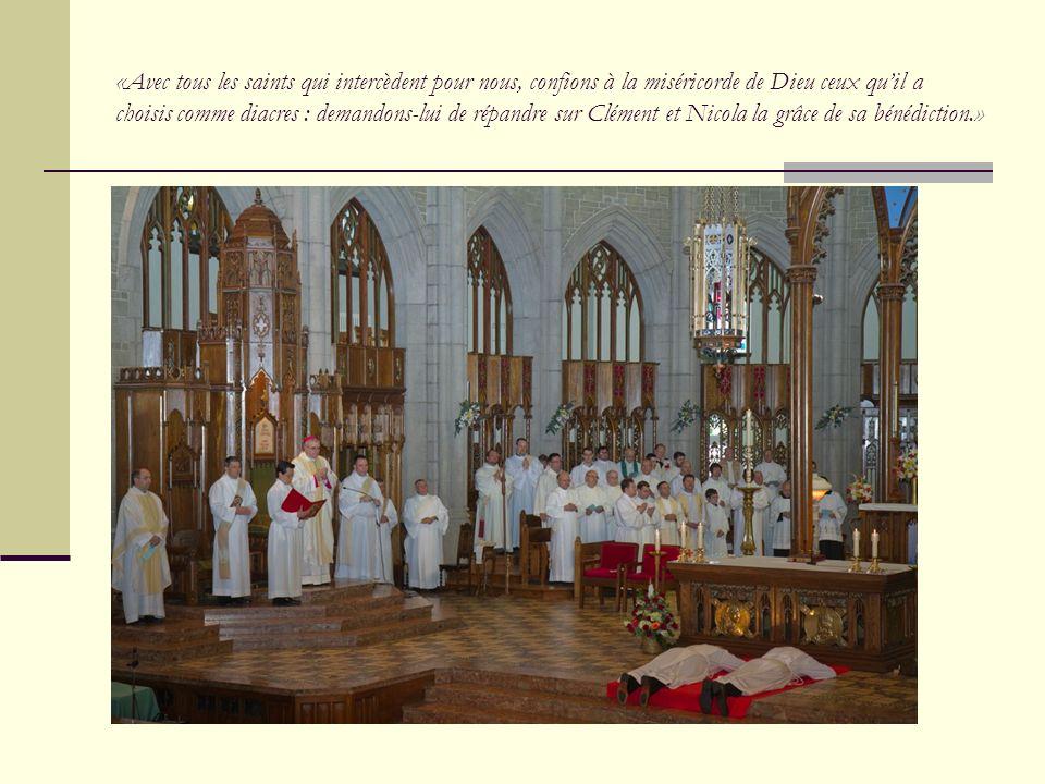 Seigneur, notre Dieu, écoute notre prière : Cest toi-même qui agis dans les sacrements dont nous avons reçu la charge : Sanctifie donc par lordination ceux que nous te présentons pour le ministère du diaconat.