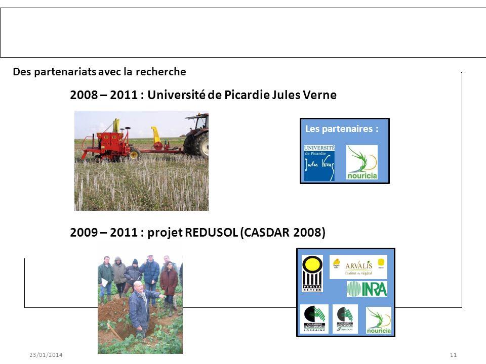 23/01/201411 Des partenariats avec la recherche 2008 – 2011 : Université de Picardie Jules Verne Les partenaires : 2009 – 2011 : projet REDUSOL (CASDAR 2008) Accompagnement du groupe TCS VIVESCIA