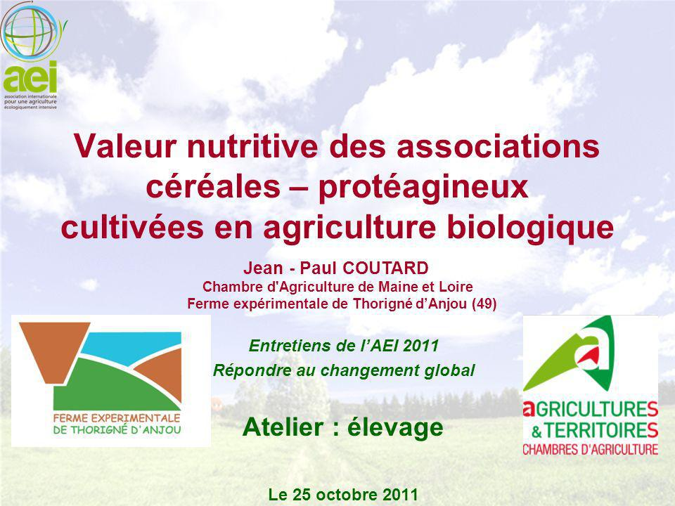 Les associations céréales - protéagineux dans les élevages conduits en AB Principal concentré 1 ou 2 céréales + + 1 ou 2 protéagineux.