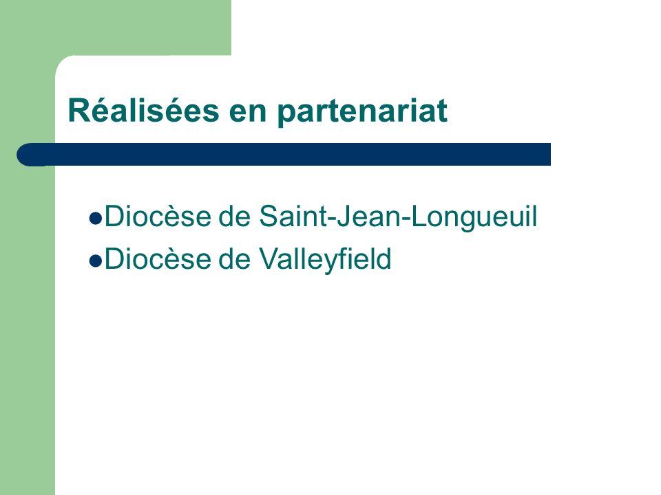 Réalisées en partenariat Diocèse de Saint-Jean-Longueuil Diocèse de Valleyfield