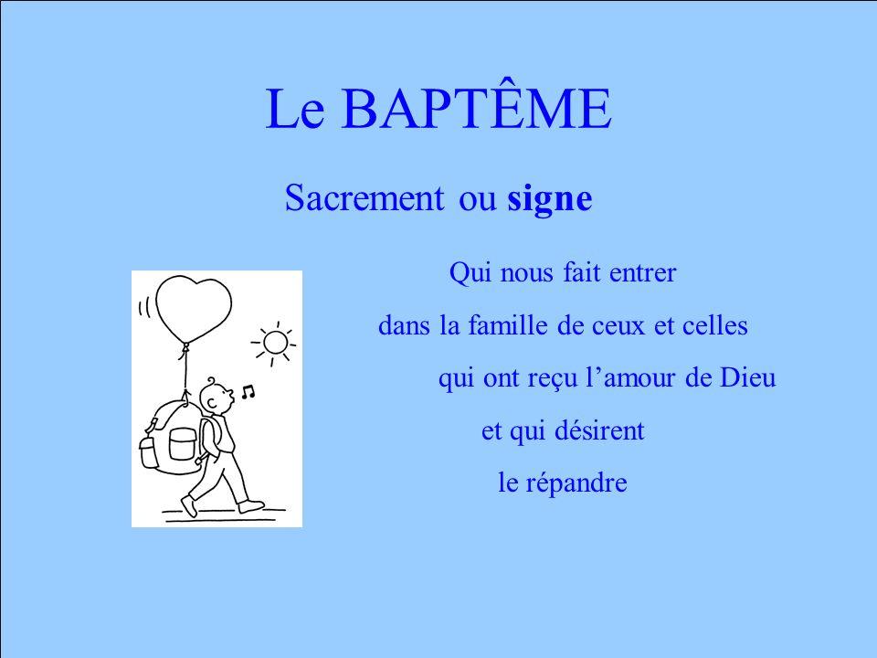 Le BAPTÊME Sacrement ou signe Qui nous fait entrer dans la famille de ceux et celles qui ont reçu lamour de Dieu et qui désirent le répandre
