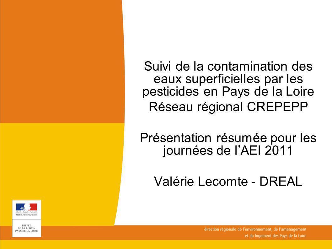 Suivi de la contamination des eaux superficielles par les pesticides en Pays de la Loire Réseau régional CREPEPP Présentation résumée pour les journée