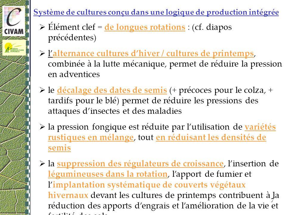 7 Système de cultures conçu dans une logique de production intégrée Élément clef = de longues rotations : (cf.