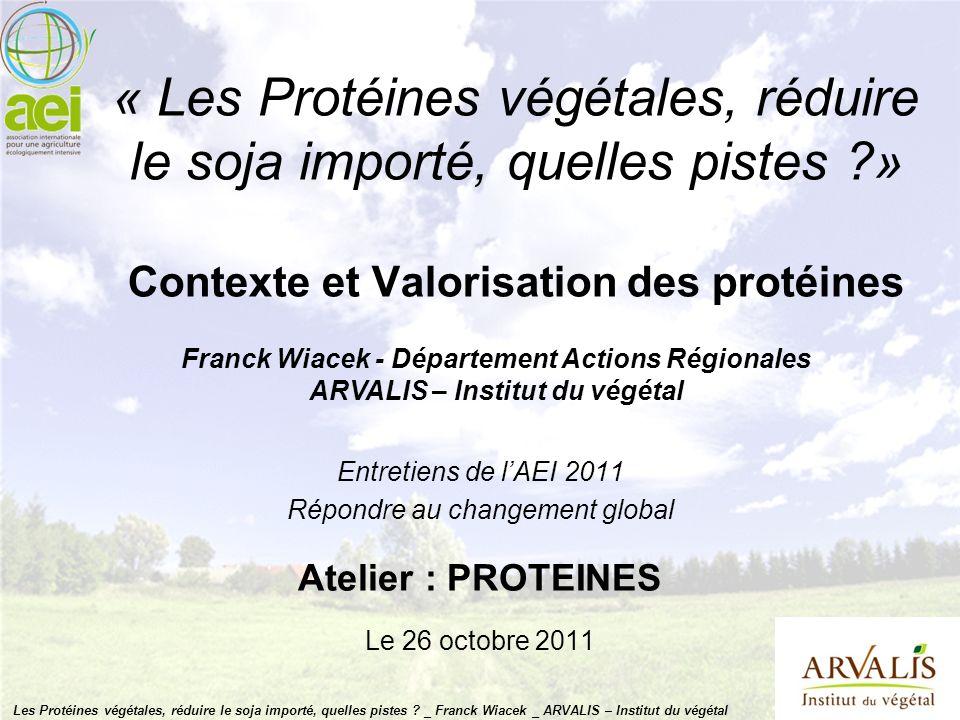 « Les Protéines végétales, réduire le soja importé, quelles pistes ?» Contexte et Valorisation des protéines Entretiens de lAEI 2011 Répondre au chang