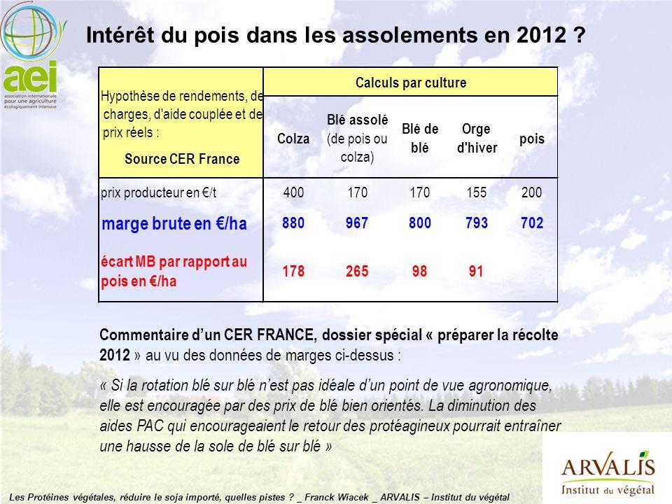 Intérêt du pois dans les assolements en 2012 ? Commentaire dun CER FRANCE, dossier spécial « préparer la récolte 2012 » au vu des données de marges ci