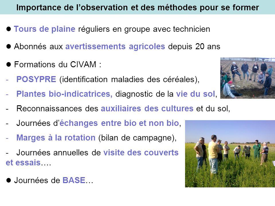 Importance de lobservation et des méthodes pour se former Tours de plaine réguliers en groupe avec technicien Abonnés aux avertissements agricoles dep