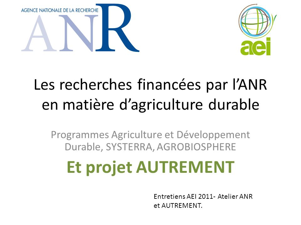 AGROBIOSPHERE A new programme for 2011-2013