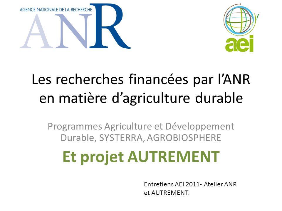 Les recherches financées par lANR en matière dagriculture durable Programmes Agriculture et Développement Durable, SYSTERRA, AGROBIOSPHERE Et projet A
