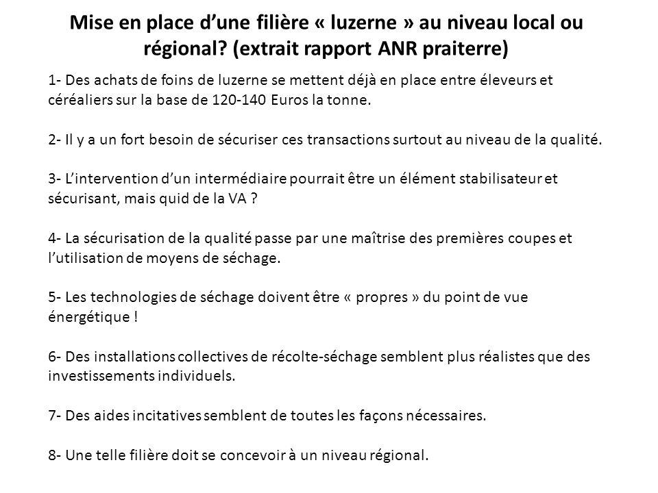 Mise en place dune filière « luzerne » au niveau local ou régional? (extrait rapport ANR praiterre) 1- Des achats de foins de luzerne se mettent déjà