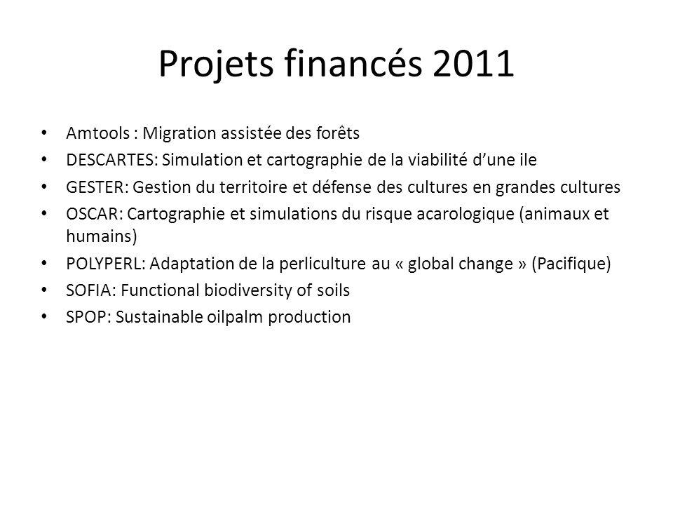Projets financés 2011 Amtools : Migration assistée des forêts DESCARTES: Simulation et cartographie de la viabilité dune ile GESTER: Gestion du territ