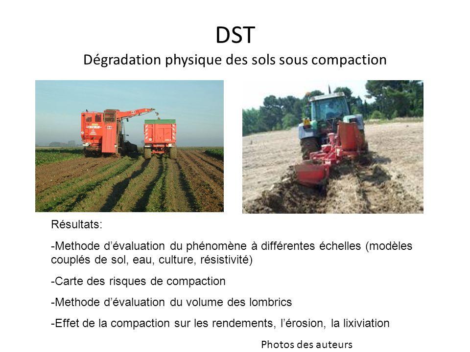 DST Dégradation physique des sols sous compaction Résultats: -Methode dévaluation du phénomène à différentes échelles (modèles couplés de sol, eau, cu